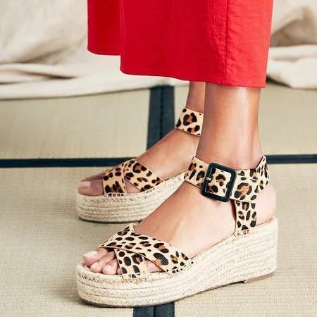 Summer Straw-Weaved Platform Ankle-Strap Buckle Sandals