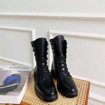 Lace Up Flat single ankle Boots Female winter
