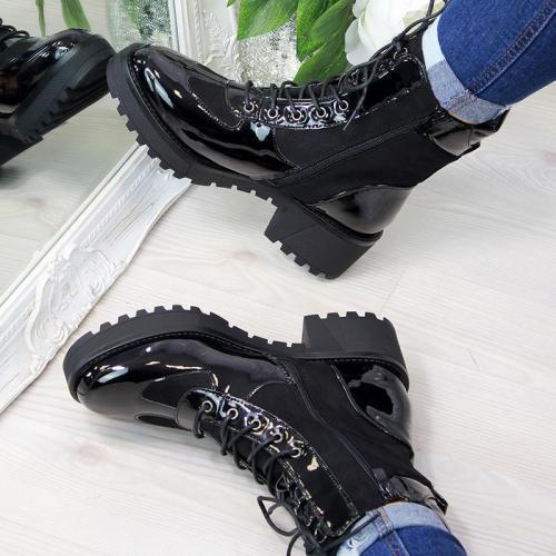 Ladies Vintage Black Stone Martin Boots
