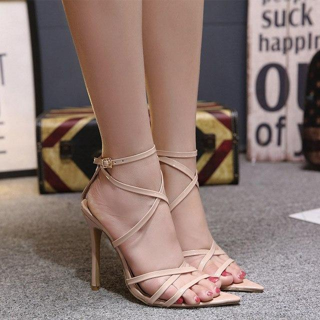 Women Pumps Thin High Heel Sandals Ankle Cross Strap Sexy Peep Toe Shoes