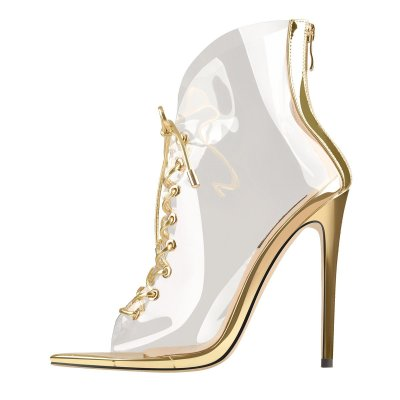 Open Toe Golden Lace up Transparent Zip Ankle Sandals Boots
