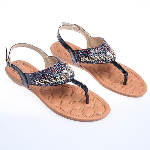 Bohemian  Flat  Peep Toe  Date Outdoor Flat Sandals