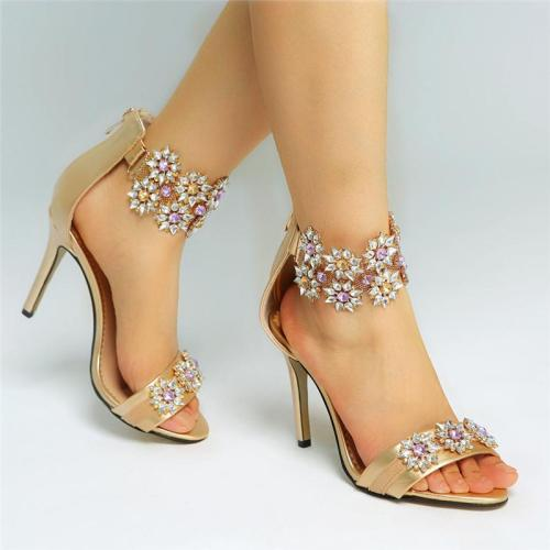 Women Sandals Simple Zip Sexy Super High Heels Crystal Party Wedding Shoes