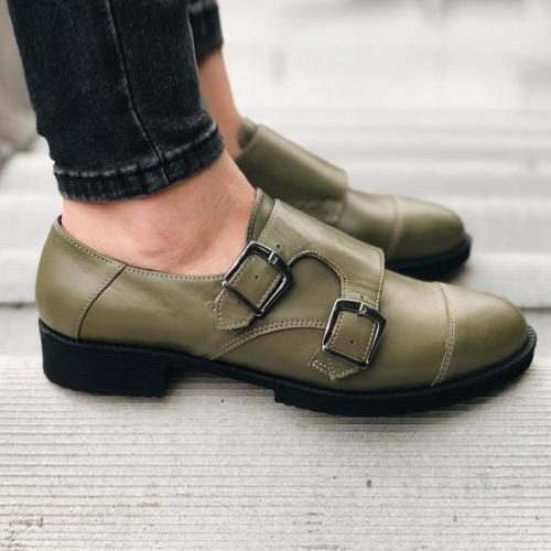 Solid Pu Double Double Monk Strap Buckle Flats Shoes