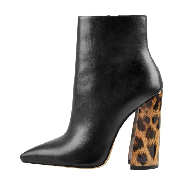 Matte Leather Pointed Toe Leopard Chunky Block Heels Ankle Booties