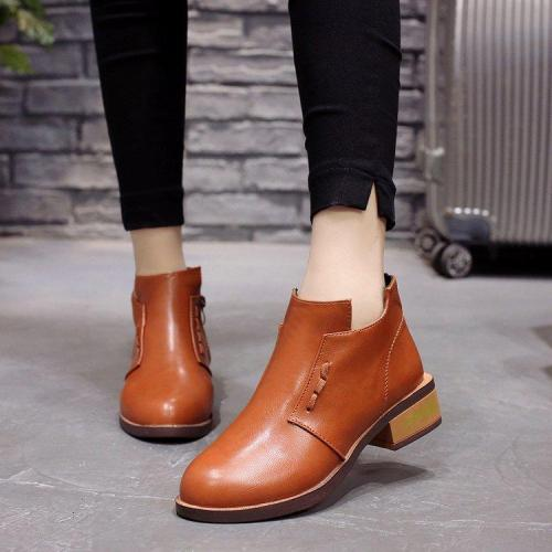 Round Toe Boos Ankle Boots Zipper Botas