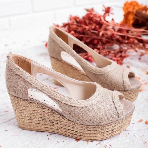 Espadrilled Wedge Heel Peep Toe Summer Sandals