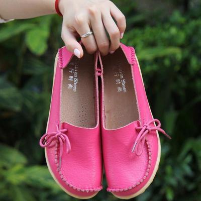 Women's Lightblue PU Flat Non-slip Bow-trim Flat Shoes