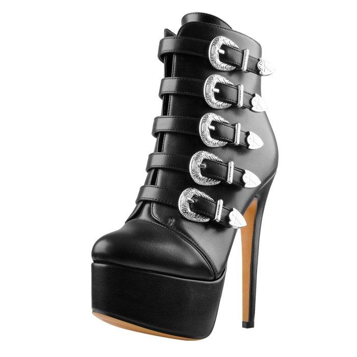 Platform Round Toe Buckle Strap Stiletto Heels Ankle Boots