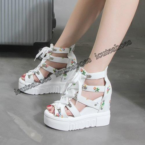 Wedges Shoes For Women Sandals High Heels Summer Shoes Platform Sandals white shoes