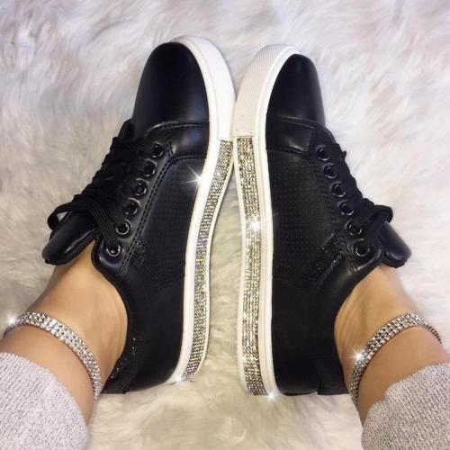 Women's Fashion Solid Color Rhinestone Decorative Round Head Casual Shoes