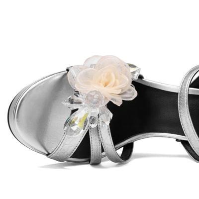 Elegant Rhinestone Flower Spool Heel Party Shoes