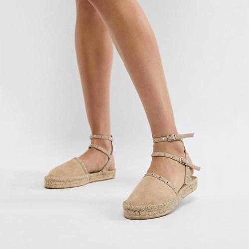 Plain Flat Velvet Ankle Strap Round Toe Casual Flat Sandals