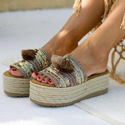 Women Comfy Round Toe Cross Flat Sandals