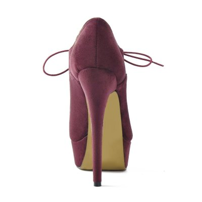 Platform Lace Up Stiletto High Heels Burgundy Leather Ankle Bootie
