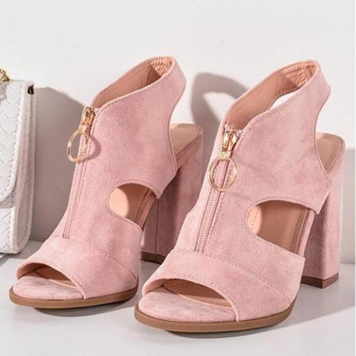 Plain Chunky High Heeled Velvet Peep Toe Casual Date Platform Sandals