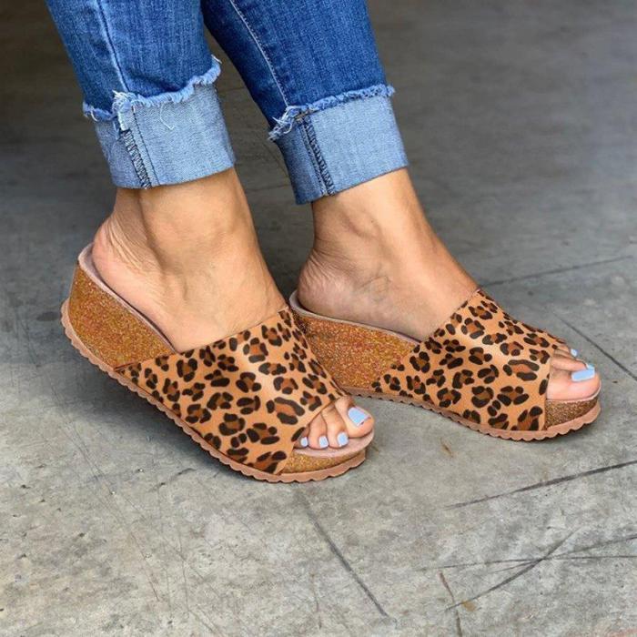 Fashion Style Peep Toe Slip-On Wedges Sandals