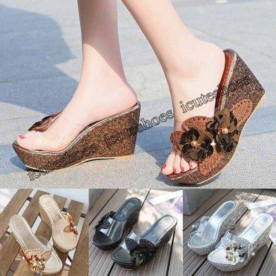 Fashion Women Summer Rhinestone sequins Sandals Roman Wedges Casual Beach Shoes Casual
