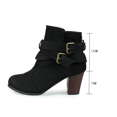 Women Daily Casual Nubuck Leather Chunky Heels Ankle Boots