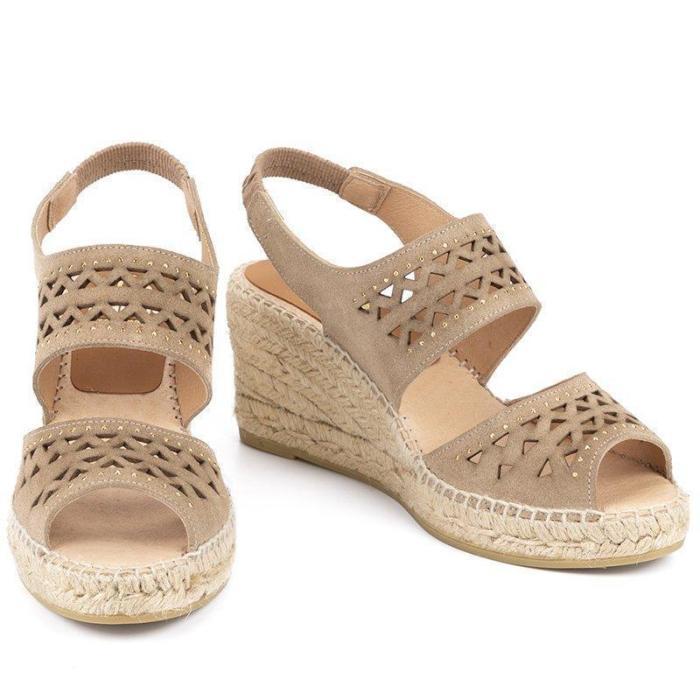 Adjustable Rubber Slingback Hollow Peep Toe Wedges Sandals