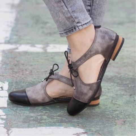 Women Casual Sandals Casual Bowknot Lace Up Vintage Sandals Shoes