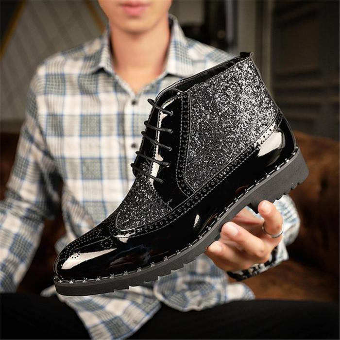 Men's high-cut bright pointed toe boots