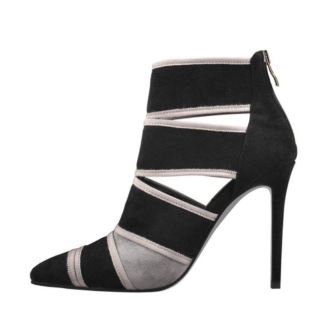 Pointed Black Suede Gladiator High Heel Sandals