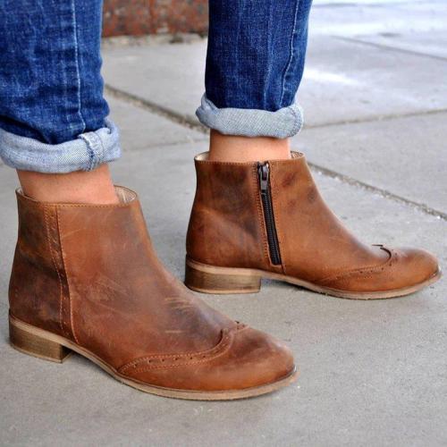 Pu Zipper Low Heel Boots Ankle Vintage All Season Booties