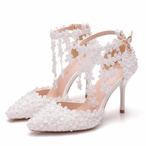 White Flower Tassel Wedding Stiletto Heel Shoes