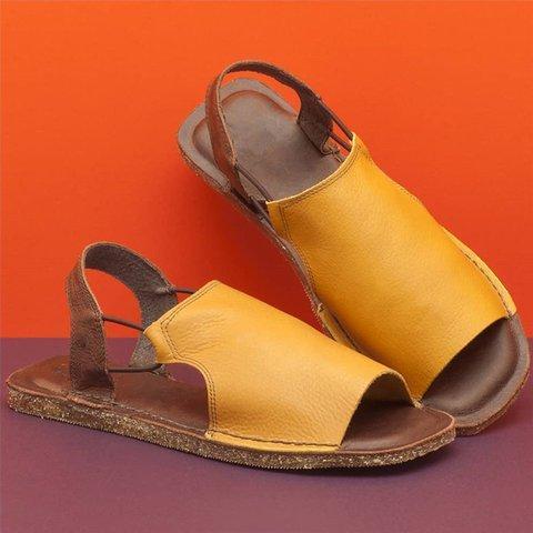 Sandals Flats Casual Single Shoes Woman Vintage PU Leather Non-slip Open Toe