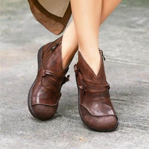 Flat Brown Round Toe Ankle Boot