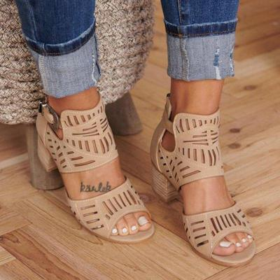 Woman Artificial Leather Chunky Heel Adjustable Buckle Sandals Casual Shoes