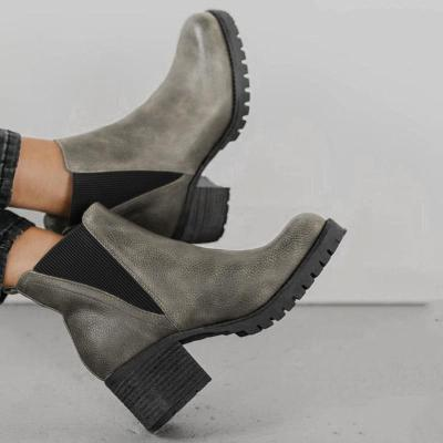 Vintage Women Mid Heel Chunky Ankle Boots