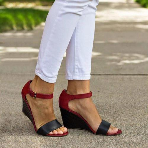 Ankle Strap Wedges Color Block Sandals