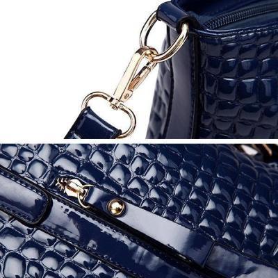 Grid Knit Tote Handbag PU Crocodile Crossbody Bag