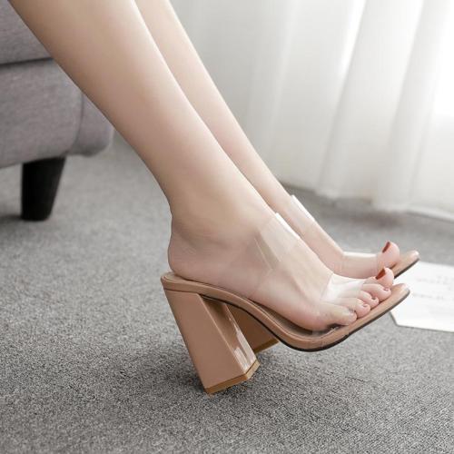 Shoes Woman Big Size Spot Star High Heel Coarse Sandals Slipper Women