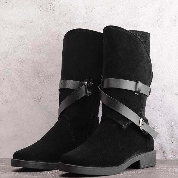 Plus Size Adjustable Buckle Mid-Calf Women Motorcycle Boots
