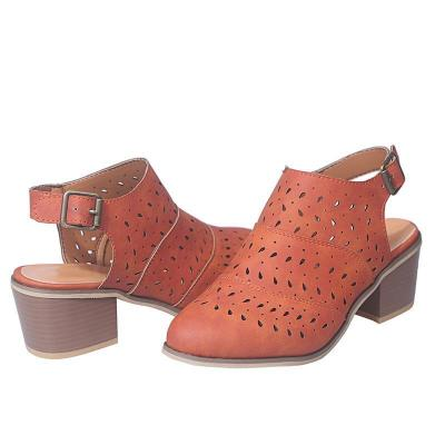 Hallow Out Chunky Mid-heel Closed Toe Heels