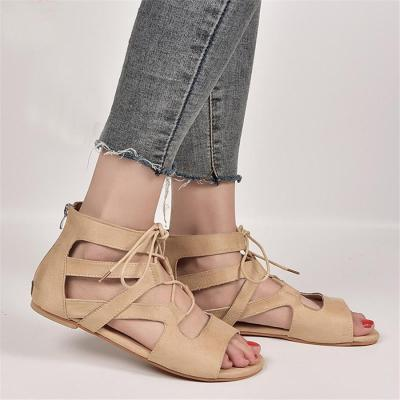 Fashion   Openwork Lace-Up Sandals