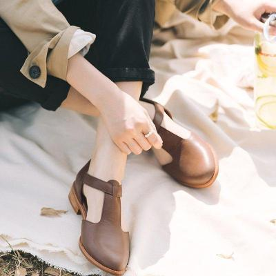 T-Bar Solid Buckle Mary Jane Low Heels Sandals
