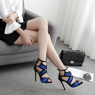 Cross-border High-heeled Shoes Large Size Ladies Sandals Colouring Fish Mouth Buckle Belt Heel