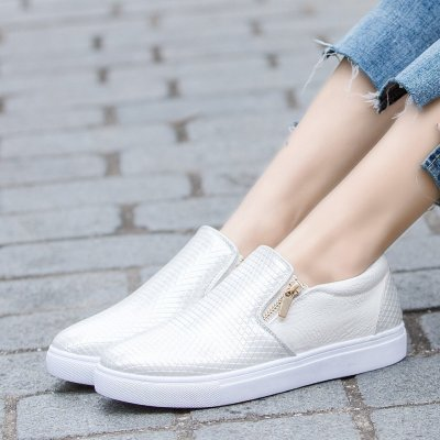 Artificial Leather Double Zip Women Casual Loafers