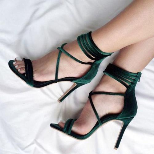 Women Gladiator Summer Zip Ankle Strap Thin Heel Pumps Sexy Fashion Shoes