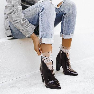 Stylish and simple versatile pointed high heel boots