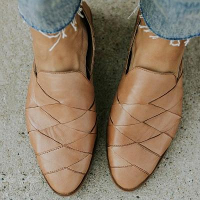 Tan Genuine Leather Flat Heel Loafers