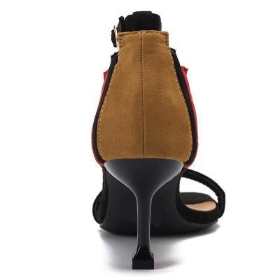 Color Block Suede Date Summer Sandals