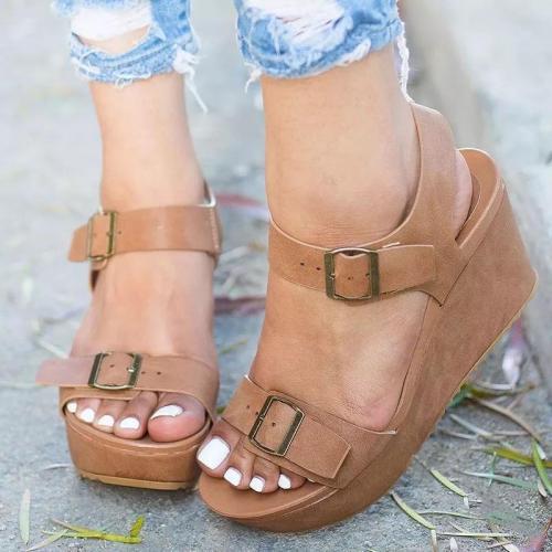 Doube Buckle Platform Wedges Sandals