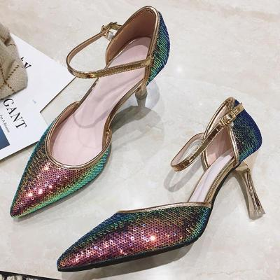 Sequin Glitter Pointed Toe Elegant Heels