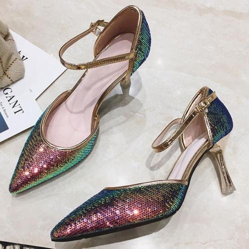 Sequin Glitter Pointed Toe Elegant Heels
