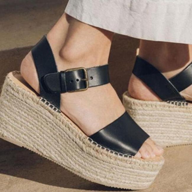 High Straw-Weaved Wedges Platforms Buckle Summer Sandals